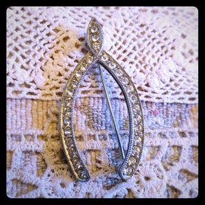 Rhinestone wishbone silver pin